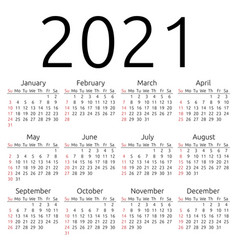 Calendar 2021 sunday vector