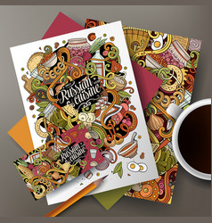 Cartoon cute doodles russian food corporate vector