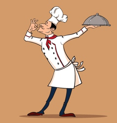 Chef cook is serving his exquisite dish vector