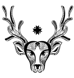 Christmas deer head doodle zentangle vector image vector image