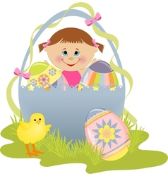 Cute Easter with child vector image vector image