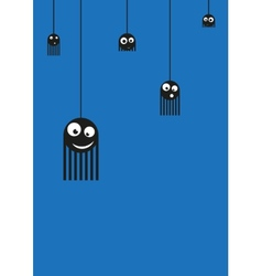 Cute monsters spiders on web vector