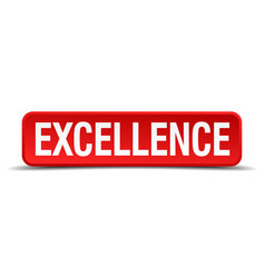 excellence red 3d square button isolated on white vector image vector image