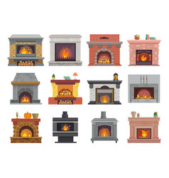 fireplace house christmas wood fire place vector image