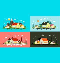 flat design buildings night and day abstract vector image vector image
