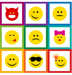 Flat icon expression set of caress happy joy and vector