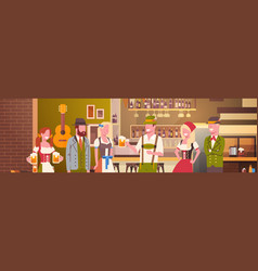 group of people drink beer in bar oktoberfest vector image vector image