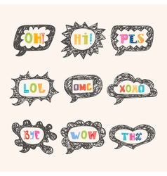 Hand drawn speech bubble set with short phrases oh vector