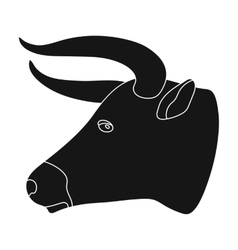Head of bull icon in monochrome style isolated on vector
