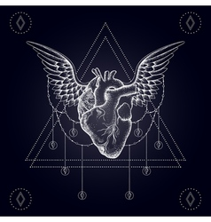 Heart with wings boho vector
