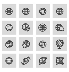 line globe icons set vector image