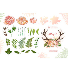 magic wreath with deer horns and roses green vector image vector image