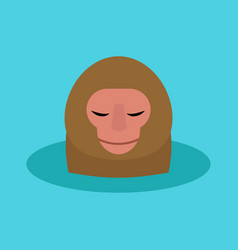 Monkey head character animal wild zoo ape vector