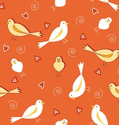 Orange tones with white birds seamless pattern vector image vector image