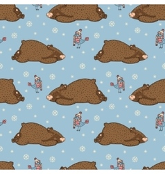 pattern birds and bears vector image vector image