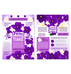 Poster of spring time viola flowers bunches vector