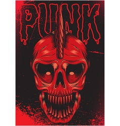 Poster with a red skull for punk rock vector