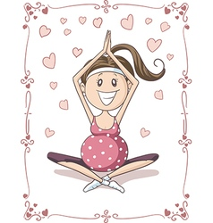 Pregnant yoga cartoon vector