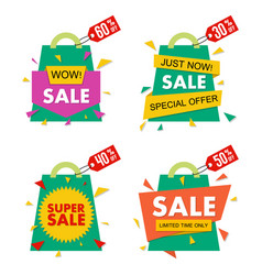 Sale banner set in material design style vector