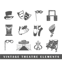 Set of elements of the theater vector image