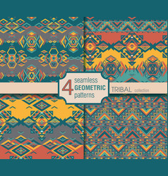 Set of four ethnic seamless patterns Geometric vector image