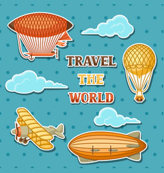 Set of retro air transport vintage aerostat vector