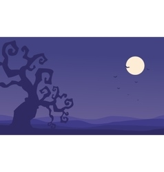 Silhouette of dry tree halloween vector