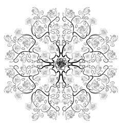 Uncolored luxury roses in zenart style mandala vector image