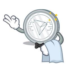 Waiter tron coin character cartoon vector