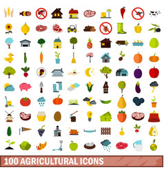 100 agricultural icons set flat style vector