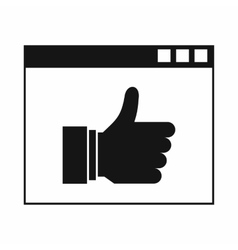 Hand with thumb up in browser icon simple style vector image