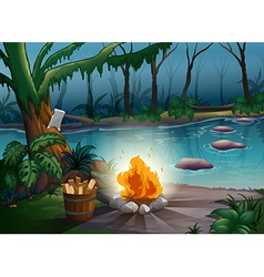 River and camp fire vector