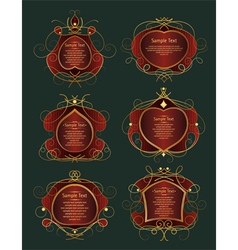set of red and gold frames vector image