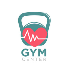 Gym center logotype design with kettlebell and vector
