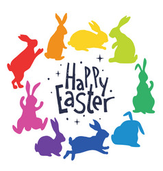 bunnies silhouettes in rainbow colors arranged in vector image