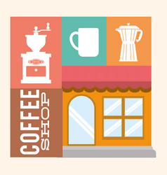 Coffee shop store building image vector