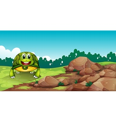 A turtle crawling near the rocks vector