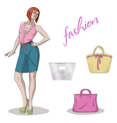 Young beauty model woman and handbags isolated on vector