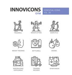 Gym - modern color single line icons set vector