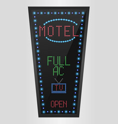 Retro sign with blue lights and the word motel vector