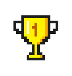 Pixel art golden cup award trophy icon vector