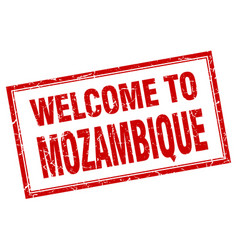 Mozambique red square grunge welcome isolated vector