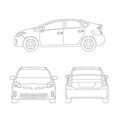 Medium size city car line art style vector