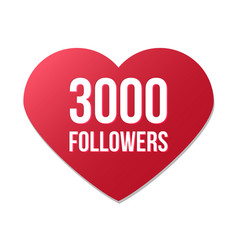 3000 followers red heart logo vector