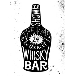 Whisky silhouette with type design vector