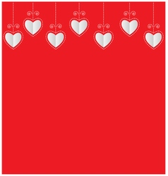 Paper hearts valentine card on red background vector