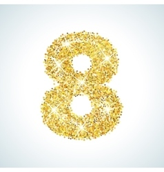 Eight number in golden style vector