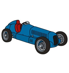 Vintage blue racing car vector