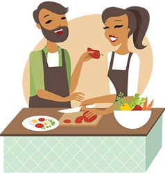 Young couple preparing healthy lunch vector