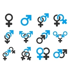Sexual relation symbols flat icon set vector